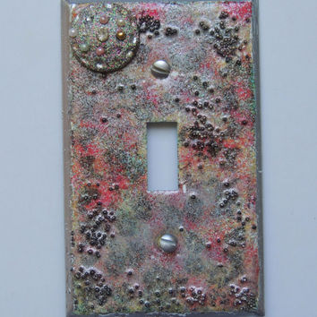 Silver Space Decorative Embellished Light Switch Plate Cover - Mini Vignette - One of a Kind - Great Gift
