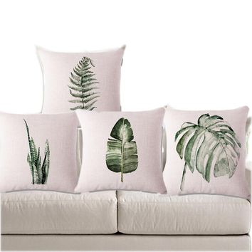 Leaves Decorative Cushion Cover Green Capa De Almofada With Print Shabby Chic Home Decor Decorating Cojines Linen Seat Decor