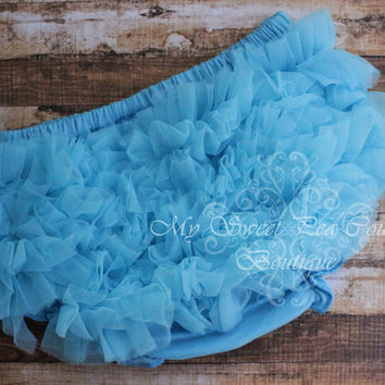 Turquoise Blue Chiffon Ruffle Bloomers- Diaper Cover - Baby Girl Outfit- Newborn Outfit- Cake Smash Outfit- Photo Prop