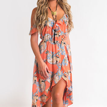 Heart Throb Floral Dress (Coral)