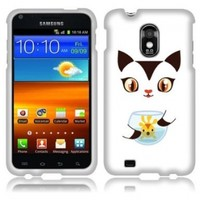 Fincibo (TM) Samsung Epic 4G Touch D710 R760 Premium Hard Plastic Snap On Protector Cover Case - Cute Cat And Fish, Front And Back