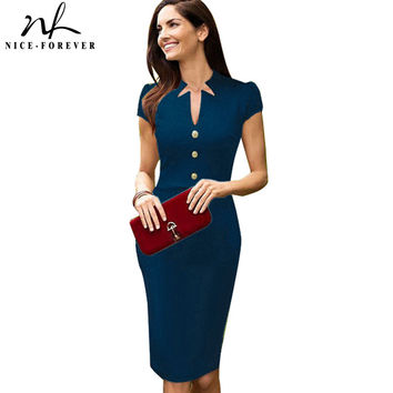 Nice-forever Plus Size elegant Solid Dress Women summer business Pinup Wear To Work Shift Buttons Tunic Bodycon Pencil Dress 754