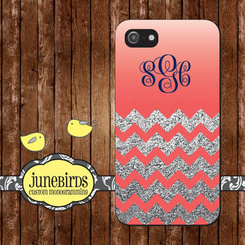 Personalized Iphone 4/4S and Iphone 5 Cell Phone Case -  Monogrammed Glitter Chevron with Coral Ombre