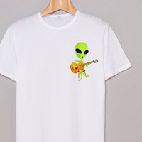 Shirt  Tumblr  Alien Playing Guitar Hipster