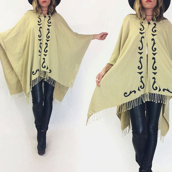 Vintage 1970's SOUTHWESTERN Leather Detailed Cream Oatmeal & Black Poncho Boho Hippie Festival Cape | One Site Fits All | Small Medium Large