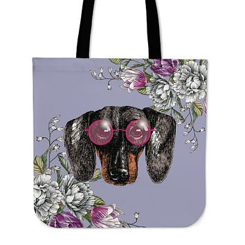 Floral Dachshund Linen Tote Bag