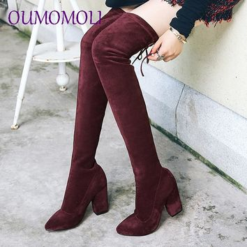 Woman Suede Knee Boots Black Wine red gray High Heeled Shoes Autumn Winter Butterfly Knot Thigh High Boots 2019