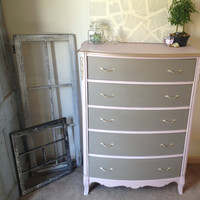 Vintage French Provincial Tall Dresser Pink and Coco