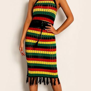 Kingston Kisses Rasta Horizontal Stripe Pattern Sleeveless High Neck Halter Tie Waist Fringe Bodycon Midi Dress