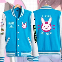 Hot & New D.VA Unisex Blue Hoodie Coat Jacket Baseball Uniform