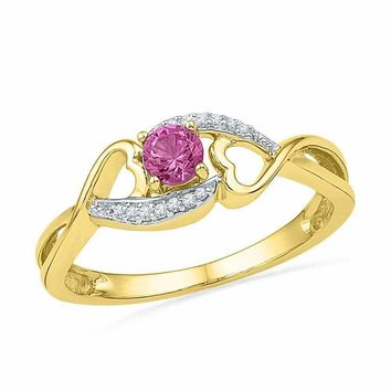 10kt Yellow Gold Women's Round Lab-Created Pink Sapphire Diamond Heart Ring 1/20 Cttw - FREE Shipping (US/CAN)