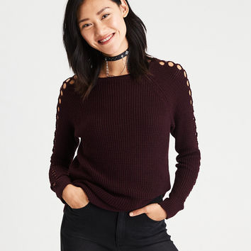 AE Netted-Sleeve Waffle Knit Sweater, Burgundy
