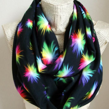 Rainbow Scarf Cotton Jersey infinity Scarf, Women Fashion Trendy, Colorful Chunky Infinity Cowl Circle Scarf