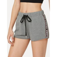Grey Letter Printing Tape Side Heathered Sweat Shorts