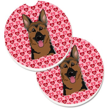 German Shepherd Hearts Set of 2 Cup Holder Car Coasters BB5281CARC