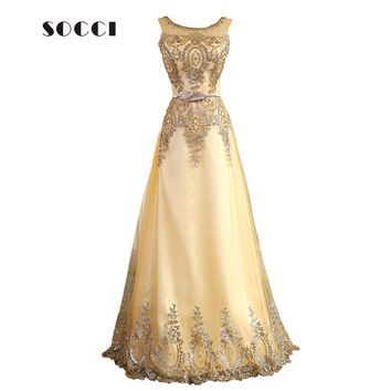 Tulle Lace Muslim Gold Evening Dress Long Beading Formal gown Prom Embroidery Robe de Soiree Mother of the Bride Dresses