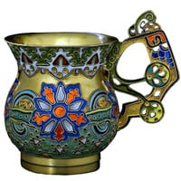 FABERGE Antique Russian Cloisonne Enamel Vodka Cup