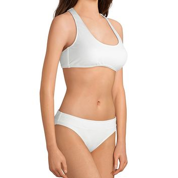 Cremieux Solid Ivory Pique Banded Bralette Bikini Top & Banded Classic Swimsuit Bottom | Dillard's
