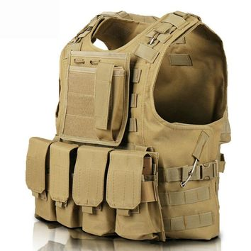 Tactical Vest Airsoft Molle Tactical Plate Carrier Vest Combat Training Vest with 4 Mag Pouches + 1 Utility Accessories Bag