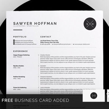 Professional Resume Template, CV Template for MS Word, Creative Resume, Modern Resume Design, Resume Instant Download Sawyer Resume