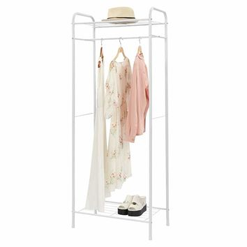 "HOME BI Heavy Duty Clothing Garment Rack, Clothes Stand Rack Organizer Storage with Hanging Rod and 2-Tier Metal Storage Shelf, 24""W x 15""D x 65""H, white"
