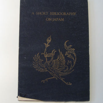 A Short Bibliography on Japan, extremely Rare booklet, pre World War II, major reference on Japanese literature, Tokyo 1934, velvet binding