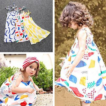 Little girls dress summer children dress clothes for girls colorful graffiti print dress gown