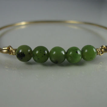 Gold Green Jade Bangle Bracelet  - Green Jade Jewelry  - Gold Bangle Bracelet - Bangle Bracelet - Jewelry - Bangle - Bracelet - Bauble Vine