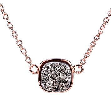 Rose Gold Silver Druzy Square Necklace