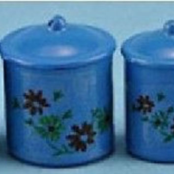 1:12 Scale Canisters, Set of 4 w/Lids, Blue #IM65331