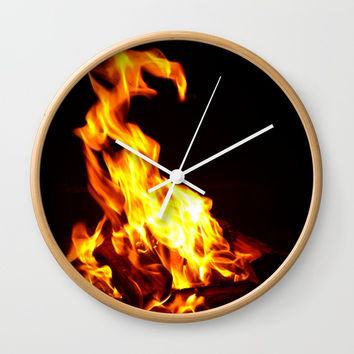 The fire Wall Clock by Briar McMillan Arts