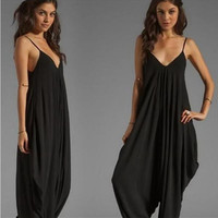 Women's Fashion Stylish V-neck Spaghetti Strap Jumpsuit [6044832513]