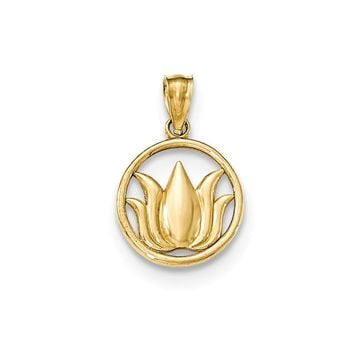 14K Yellow Gold Polished Lotus Flower in Circle Pendant