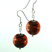 Halloween Orange and Black Lampworked Glass Bead by MercuryGlass