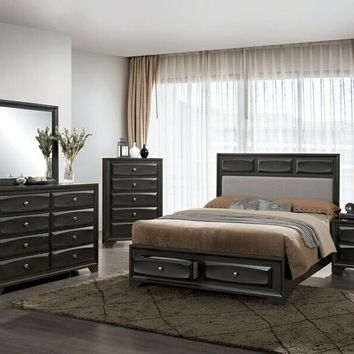 5 pc Clotilde collection antique gray finish wood w/ drawers in footboard queen bedroom set