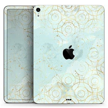 "Karamfila Watercolor & Gold V7 - Full Body Skin Decal for the Apple iPad Pro 12.9"", 11"", 10.5"", 9.7"", Air or Mini (All Models Available)"
