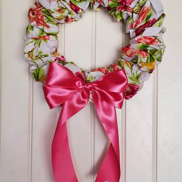 Floral Fabric Wreath, Fabric Wreath, Front Door Wreath, Spring Wreath, Summer Wreath