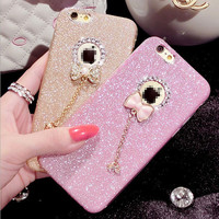 Bow Glitters Handmade Sparkle Fading Soft Phone Case for iphone 6 6s for iphone 6 6s  plus