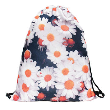 Flower Drawstring Bag