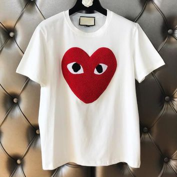 omme des garçon play Popular Women Chic Red Heart Short Sleeve Round Collar T-Shirt Top White