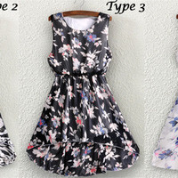 Floral Print Sleeveless Waist Dress