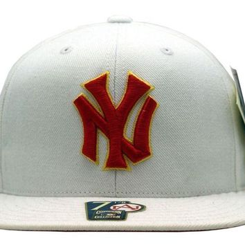 DCK4S2 New York Yankees White Fitted Cap With Red/Yellow Logo - B23