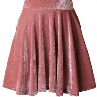 Peach High Waist Velvet Skirt - Skirt - Bottoms - Retro, Indie and Unique Fashion