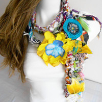 Gypsy Scarf, Boho Scarf, Gypsy Crochet Scarf, Hippie Scarf Crochet Scarf, Scarf With Applications Gypsy Love, Unique items, Colorful Flowers