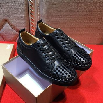 Best Deal Online Christian Louboutin CL Loafer Roller Boat Pik Pik Flat Black Patent Leather 16s Shoes