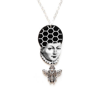 "Hive Mind / Queen Bee Necklace - Silver Bee - Illustration Jewelry with 18"" Chain"