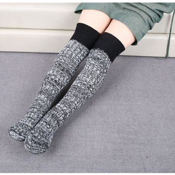 Sexy Thigh High Stockings Over The Knee Socks Contrast Color Long Crochet Stockings Thick Warm Knee Socks Knit Boot Cuffs