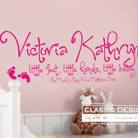 Vinyl Wall Decal - Childs Name Personalized, Little Feet, Little Hands, Little Baby, Dave Matthews Band, So Much to Say  lyrics
