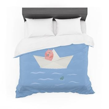 "Cristina bianco Design ""Cat & Paper Boat"" Pink Blue Featherweight Duvet Cover"