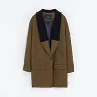 COAT WITH KNITTED LAPEL